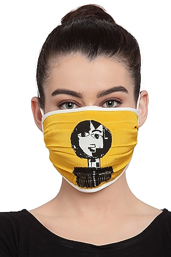 Yellow Reusable Unisex Mask With Yellow Reflection Print  by Masaba