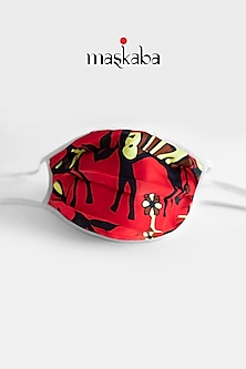 Red Printed Reusable Mask by Masaba