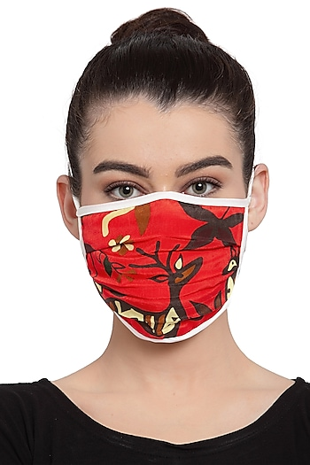 Red Reusable Unisex Mask With Scarlet Deer Forest Print  by Masaba