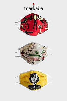 Red, Ivory, & Yellow Printed Masks (Set of 3) by Masaba