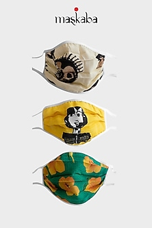 Yellow, Beige, & Green Printed Masks (Set of 3) by Masaba