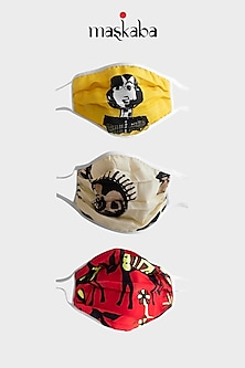 Yellow, Beige, & Red Printed Masks (Set of 3) by Masaba