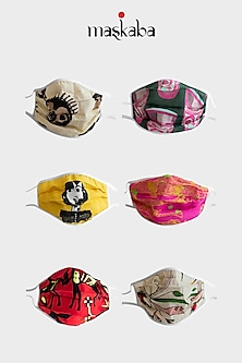 Multi Colored Reusable Printed Masks (Set of 6) by Masaba