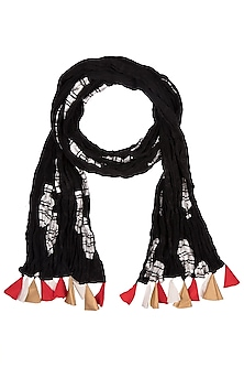 Black Vase Printed Crushed Scarf by Masaba-ACCESSORIES AS GIFTS