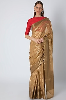 Beige Printed Saree Set by Masaba