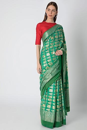 Green Printed Saree Set by Masaba