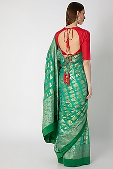 Green Printed Saree Set by Masaba