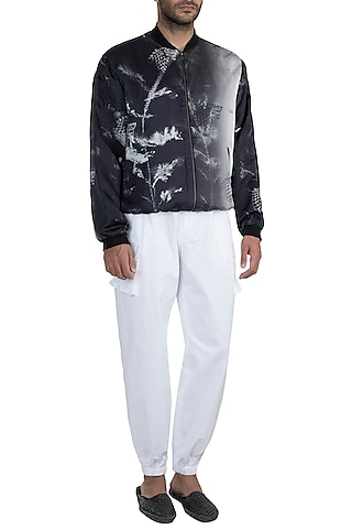 Black & White Monochrome Tangled Haven Jacket With Pants by Masaba Men X GOT