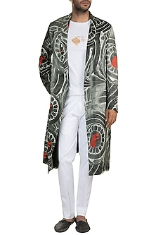 White & Black Wall Of Stark Trench Coat With Trouser & T-Shirt by Masaba Men X GOT