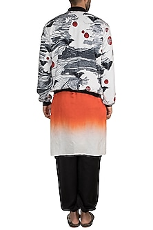 Orange, White & Black Westeros Wrath Bomber Jacket With Kurta & Pants by Masaba Men X GOT