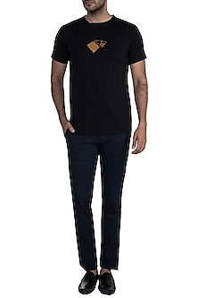 Black Gold Foil Stark Sigil T-Shirt by Masaba Men X GOT