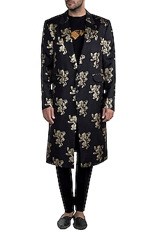 Black Lannister Gold Sigil Trench Coat by Masaba Men X GOT