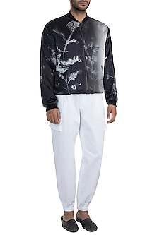 Black & White Monochrome Tanged Haven Bomber Jacket by Masaba Men X GOT