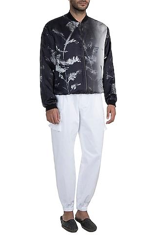 Black & White Monochrome Tanged Haven Bomber Jacket by Masaba Men X GOT