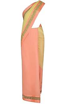 Yellow And Peach Dori Embroidered Saree With Yellow Dabka Embroidered Blouse by Ashutosh Murarka