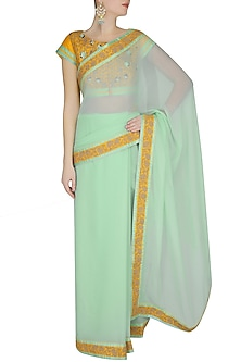 Sunshine Yellow And Sea Green Dori Embroidered Saree With Yellow Dabka Embroidered Blouse by Ashutosh Murarka