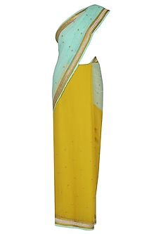 Mustard Yellow And Aqua Sequinned Saree With Mustard Yellow Dabka Embroidered Blouse by Ashutosh Murarka