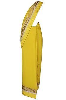 Mustard Yellow Dori Embroidered Saree With Mustard Yellow Thread Work Blouse by Ashutosh Murarka