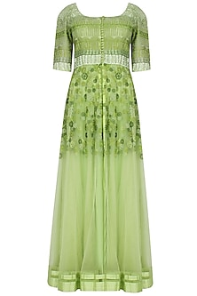 Mango Green Kalidaar Kurta With Sheer Embroidered Floor Length Jacket And Churidaar Pants Set by Ashutosh Murarka