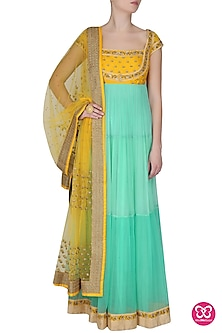 Sunshine Yellow And Aqua 3 Tiered Thread Embroidered Floor Length Kurta With Churidaar Pants Set by Ashutosh Murarka