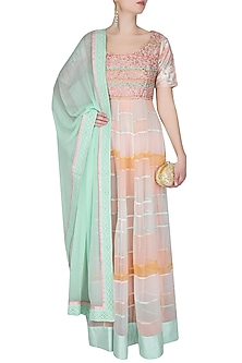 Peach And Aqua Floor Length Thread Embroidered Kurta With Churidaar Pants Set by Ashutosh Murarka