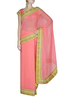 Yellow And Neon Pink Dori Embroidered Saree With Pink Dabka Embroidered Blouse by Ashutosh Murarka