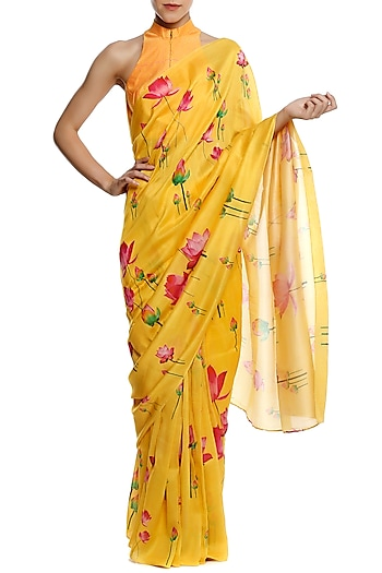 Yellow Floral Printed Chanderi Saree and A Yellow Blouse piece by Masaba