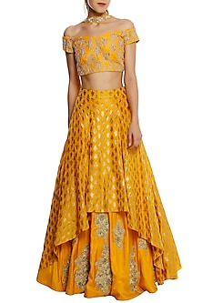 Yellow Embroided High-Low Lehenga Set. by Masaba