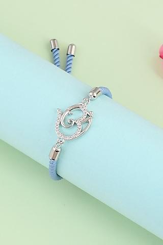 Silver Om Swarovski Rakhi Bracelet by Matree Jewels