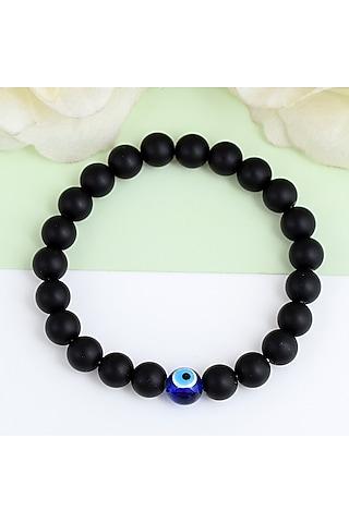 Black Evil Eye Adjustable Rakhi Bracelet by Matree Jewels