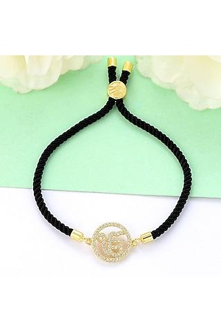 Gold Plated Swarovski Ek Onkar Rakhi Bracelet by Matree Jewels