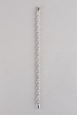 White Finish Tennis Bracelet In Sterling Silver by Mon Tresor