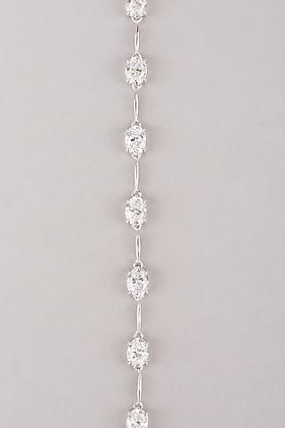 White Finish Zircon Tennis Bracelet In Sterling Silver by Mon Tresor