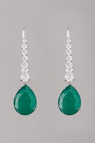 White Finish Emerald Stone Earrings In Sterling Silver by Mon Tresor