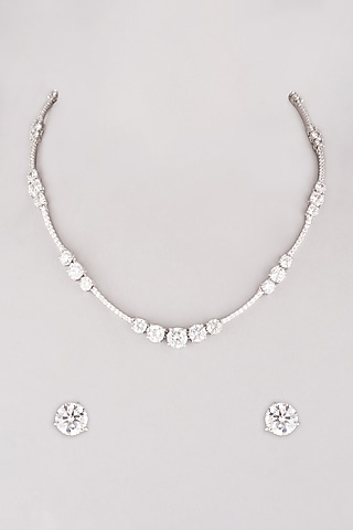 White Finish Diamond Necklace Set In Sterling Silver by Mon Tresor