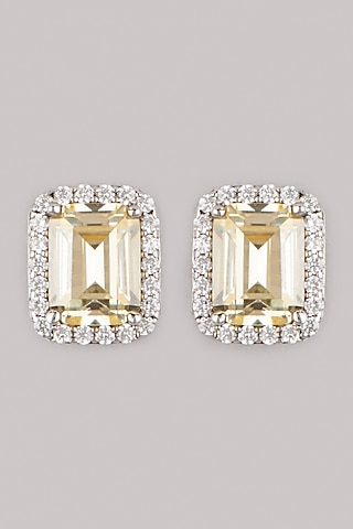 White Finish Yellow Sapphire Stud Earrings In Sterling Silver by Mon Tresor