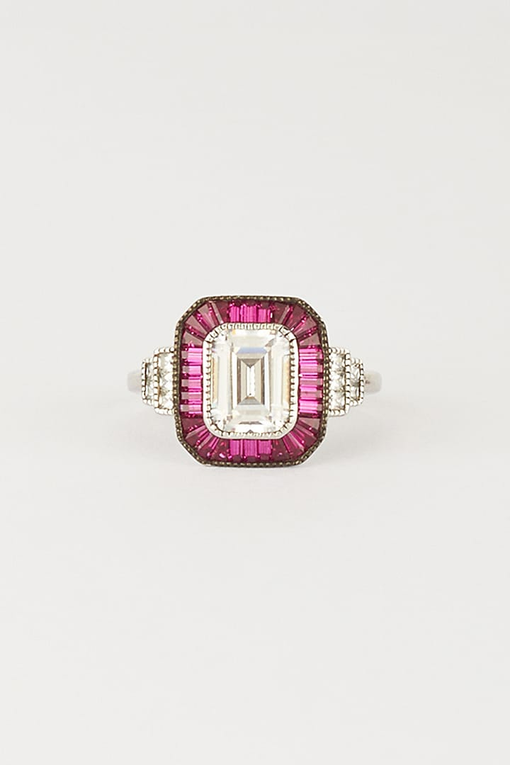 White Finish Ruby Ring In Sterling Silver by Mon Tresor