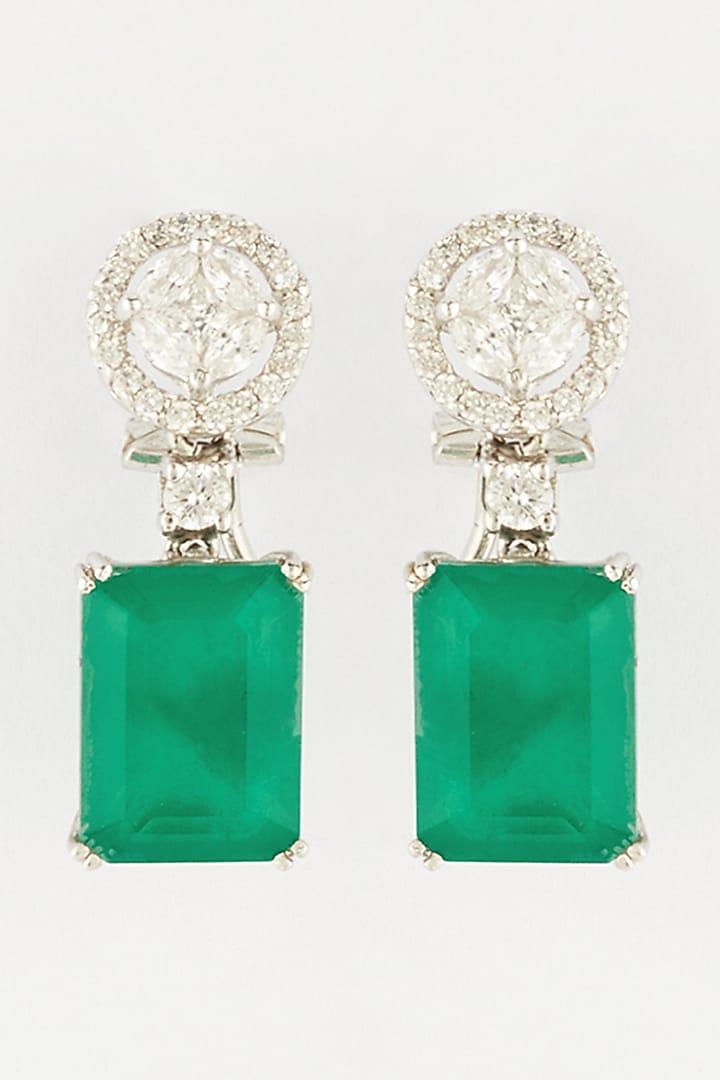 White Finish Semi Precious Emerald In Sterling Silver by Mon Tresor