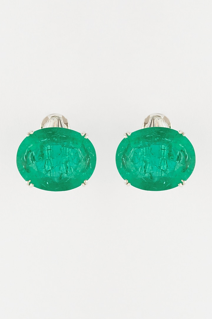 White Finish Oval Emerald Stone Earrings In Sterling Silver by Mon Tresor
