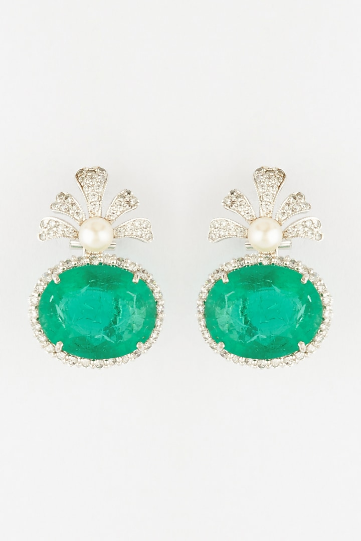 White Finish Semi Precious Emerald Dangler Earrings In Sterling Silver by Mon Tresor