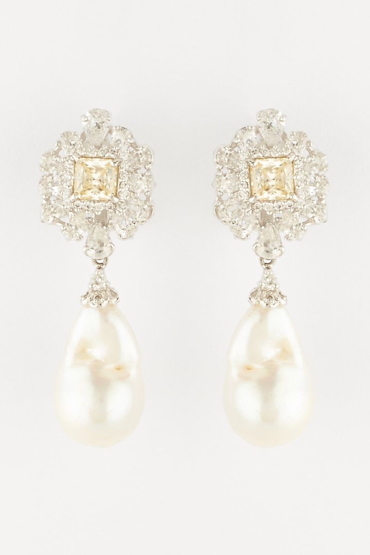 White Finish Baroque Pearl Earrings In Sterling Silver by Mon Tresor