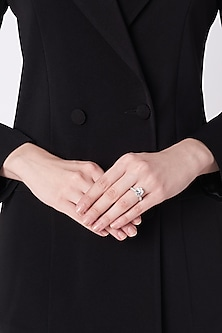 Gold Plated & White Finish Silver Ring by Mon Tresor
