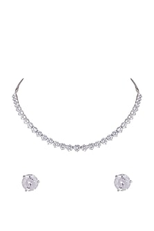 White Finish Silver Necklace Set by Mon Tresor