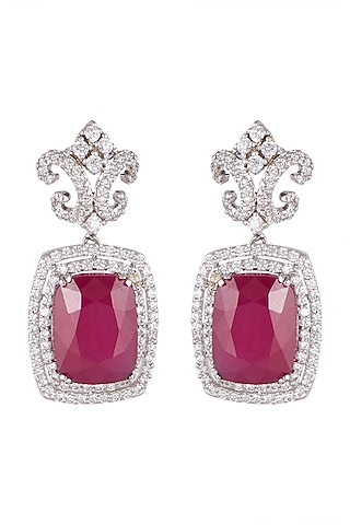 White Finish Ruby & Zircon Stud Earrings by Mon Tresor