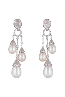 White Finish Pearl Chandelier Earrings by Mon Tresor