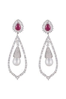 White Finish Ruby & Pearl Chandelier Earrings by Mon Tresor