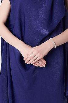 White Finish Silver Tennis Bracelet by Mon Tresor