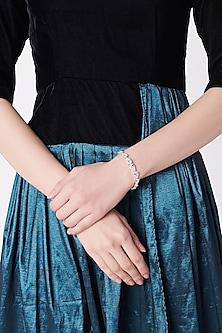 White Finish Pear Shaped Tennis Bracelet by Mon Tresor