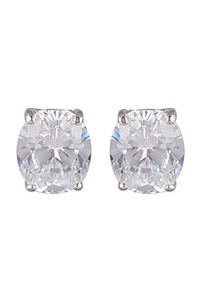 White Finish Oval Solitaire Earrings by Mon Tresor