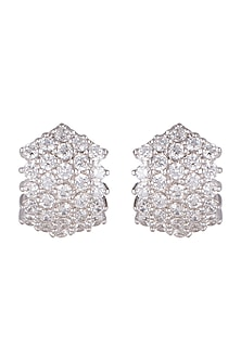 White Finish Bali Style Earrings With Cubic Zircons by Mon Tresor